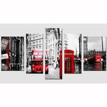 5 Panel vintage home decor red bus street & castle Picture Cuadros Decoracion Canvas Art Wall pictures For Living Room SJ-101137