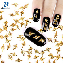 3D Nail Art Decoration Japanese Style Nails Accessories About 1000Pcs/Package Gold 5*8mm Special Design Charms PJ450 Top Quality(China)