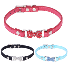 Fashion Leather Bone Type Colored Diamond Pet Dog Collars For Small Dogs Collars Pet Puppy Cat Red Blue Pink collar perro