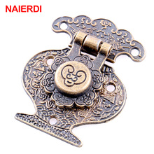 4PCS NAIERDI Antique Bronze Hasp Latch Jewelry Wooden Box Lock Mini Cabinet Buckle Case Locks Decorative Handle Hardware