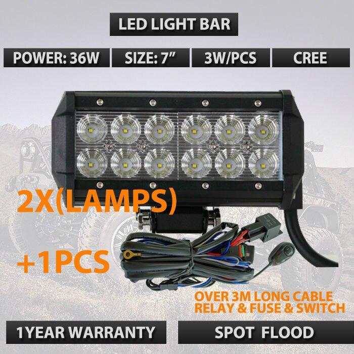 2x 7INCH 36W Led Work Light Bar Flood Driving Fog Offroad JP Truck A7 SUV <br>