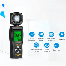 Smart Sensor AS803 Digital Lux Meter Digital photography spectrometer actinomete light meter Luminance tester 1-200000 Lux tools