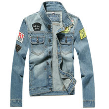 New Arrival Men Jean Jacket With Patches And Blue Color Denim Jacket Men Cotton Slim Fit Mens Jackets And Coats 1807