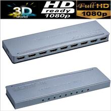 Free shipping&wholesale 1pcs/lot HDMI Splitter 1X8 port distributes 1 HDMI source to 8 HDMI displays simultaneously(China)