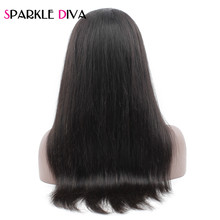 Sparkle Diva Brazilian 360 Lace Frontal Wigs Pre Plucked With Baby Hair Straight Human Hair Wigs For Women 10-22 inch Remy Hair(China)