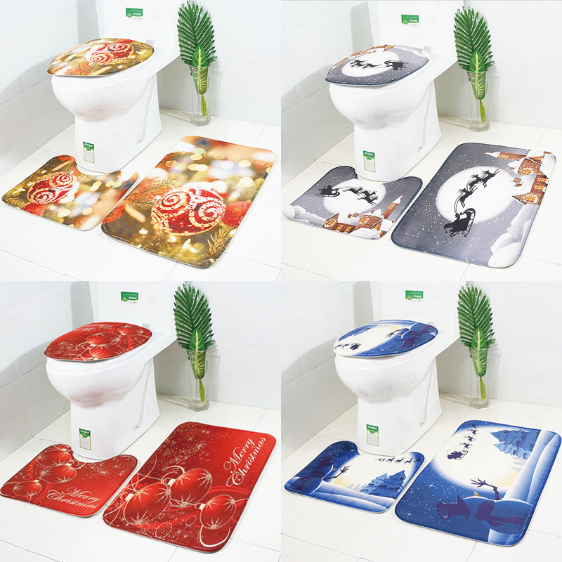 Christmas Bathroom Products 3PCS Bath Mats Set Lar...