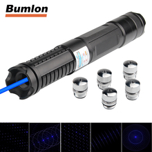 450nm 1000mw Blue Laser Pointers Flashlight Burn Smoke Matches & candle with 5 Star Cap Charger for Outdoor Travel 3-0024(China)