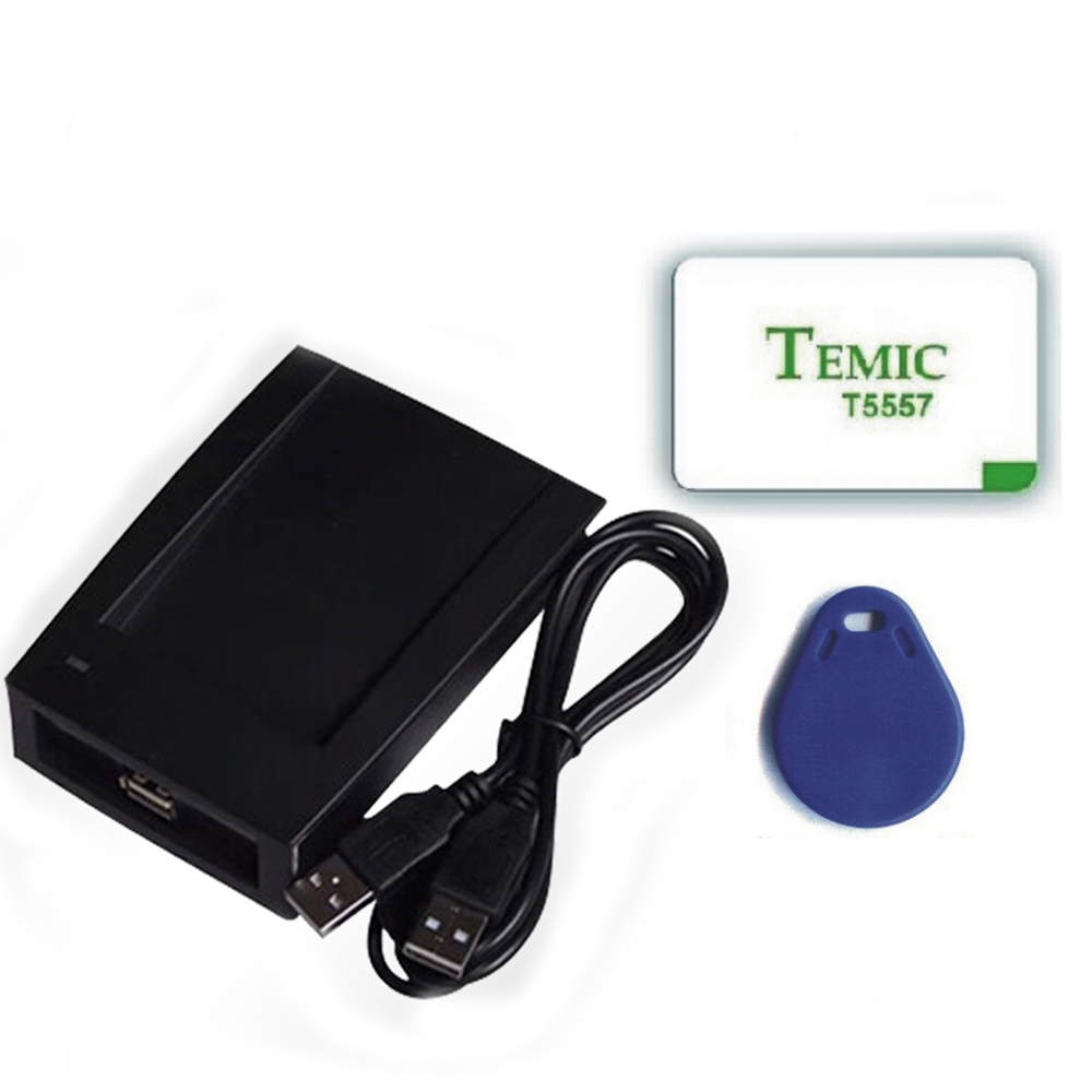 ID Card 125KHz RFID Reader &amp; Writer/Copier/Programmer + FREE Rewritable ID Card &amp; KeyFob COPY ISO EM4100 EM4102 with 2pcs cards<br>