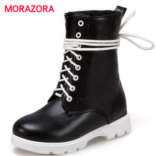 MORAZORA big size fashion lace up ankle boots for women autumn winter round toe martin boots high quality pu leather boots (China)