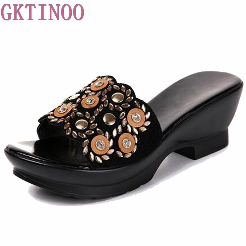 Rhinestone Women sandals comfortable geuine leather thick heels womens casual shoes summer sandals plush size 35-42<br>