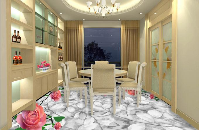 3d landscape wallpaper customize 3d flooring Pink roses living room wallpaper 3d pvc vinyl floor mural<br><br>Aliexpress