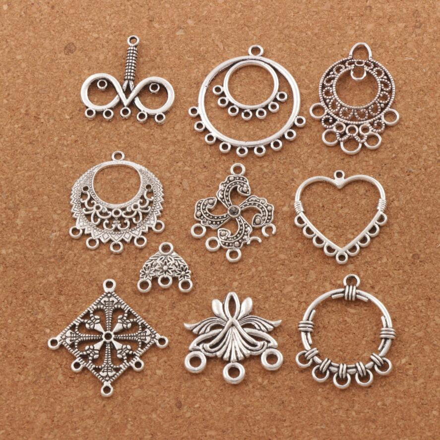 6pcs Flower Connector Tibet silver Charms Pendants DIY Jewellery Making crafts