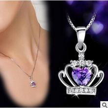 Hot Fashion Women Crystal felame jewelry Drop Chain crown sholl Necklace quartz crystal pendant For Women floating locket LQ