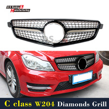 Mercedes W204 Diamonds Front Grill For Benz C Class W204 2007 - 2014 Black Grille
