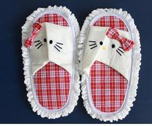 New House Bathroom Floor Lazy Dust Cleaner Cleaning Slipper Shoes Cover Mop Hello Kitty Dust Floor Cleaning /Mop Slippers Shoes(China)