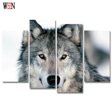 Wolf Canvas Art 4pcs Horse Modern Animal Wall Pictures Lion Painting For Home Decorative Poster Swan Printed On Canvas 2017 Gift
