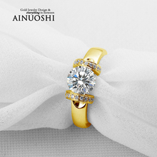 AINUOSHI Fashion Gold Ring 10K Pure Yellow Gold Wedding Ring Brillant Round Cut Joyeria Fina Women Promise Anniversary Gift Ring