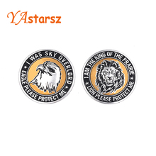 Car styling Universal 3D Metal Car Animal Stickers Round Shape Lion/Eagle/Tiger Emblem Chrome Badge Decal Car Decoration
