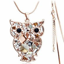 new winter design long sweater chain shine Austrian Crystal gold color Owl pendant Necklace sweater fashion jewelry 84500(China)
