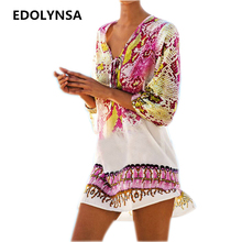 New Arrivals Beach Caftan Swimsuit Cover up Print Chiffon Pareo Women Robe Plage Swimwear Dress Sexy Sarong Beach Tunic #Q152(China)