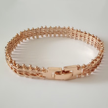 1 Piece Luxury Elegant Rose Gold Color Jewelry Hand Catenary Link Bracelet Bangle 19CM Long Gold Color Wide Women Cuff Bracelets(China)