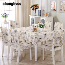 High Quality Cheap Pastoral 9 pieces/set Tablecloth Sets Chair Cover for Home Wedding Decoration Tablecloths Toalha De Mesa(China)