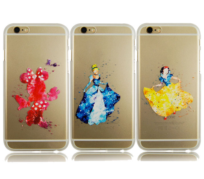 Watercolor Design Princess Fairy Mermaid Snow White Kissing Mickey Minnie Clear Plastic Case For iPod Touch 5 6(China)