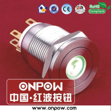 ONPOW 19mm metal WATERPROOF latching dot illuminated pushbutton switch(CE, ROHS) LAS1GQPF-11ZD/G/12V/S