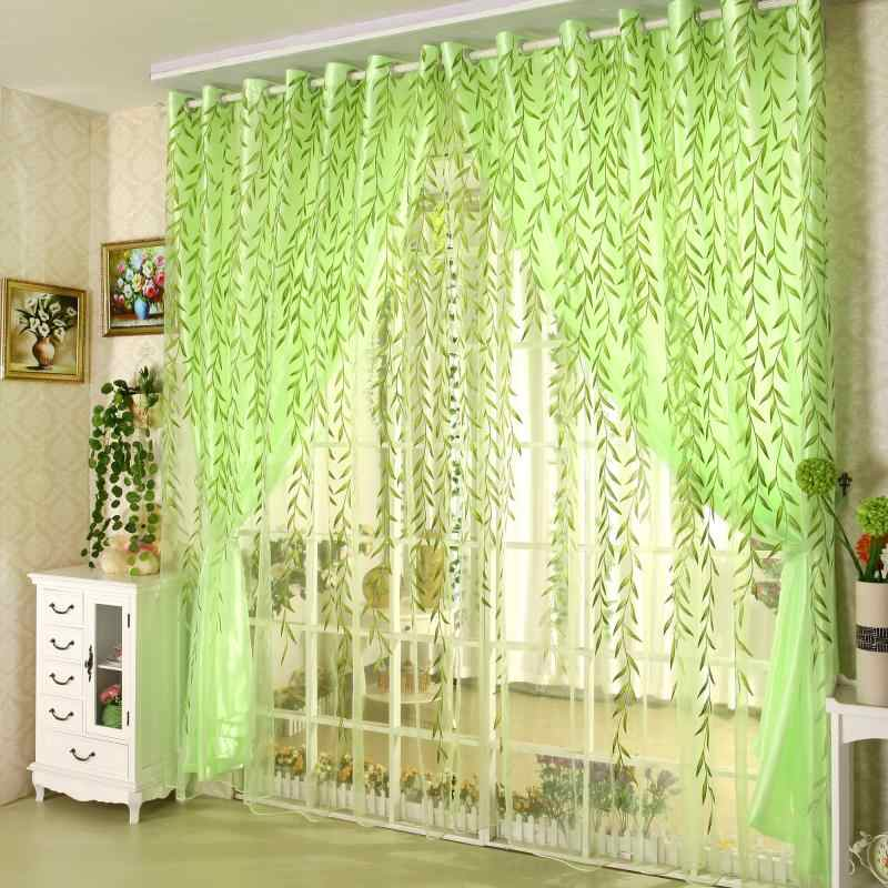 Pastoral Window Curtains Set for Living Room Printed Green Willow Curtains for the Bedroom (1 PC Curtain and 1 PC Tulle)