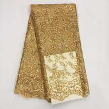 Nigerian Lace For Wedding 2017 Markdown Sale Sequin Fabric New Hojilou Gold embroidered organza fabric(China)