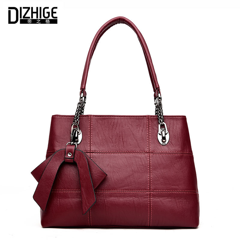 DIZHIGE Brand New Bow Genuine Leather Bag Women High Quality Chain Women Handbags Designer Sheeoskin Shoulder Bags Ladies Luxury<br>
