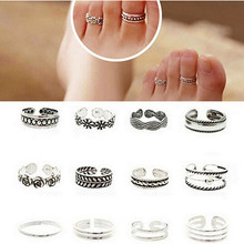 12PCS Vintage Retro Antique Silver Beach Punk Elephant Moon Arrow Ring Set Ethnic Carved Adjustable Open Toe Ring Finger Foot
