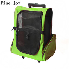 Fine joy Pet Wheel Carrier Dog Cat Portable Strollers Backpack Breathable Puppy Roller Luggage Car Travel Transport Bag