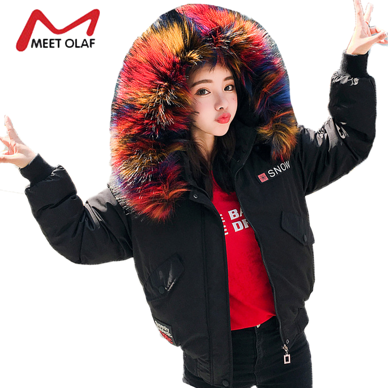 2017 Large Colorful Fur Hooded Winter Bomber Jackets Women Coats Female Cotton Padded Parkas Girl jaqueta feminina inverno Y1429Îäåæäà è àêñåññóàðû<br><br>