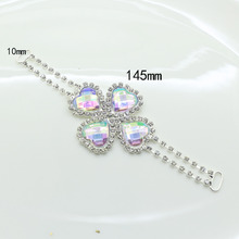 Romantic Heart 4pc 145*10mm AB color Crystal Rhinestone Bikini Connector Buckle silver  Chain Fit for Swimming Wear Bridal Dress