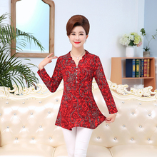 plus size autumn spring women Floral t shirts 2017 casual red green pockets 5XL ladies tee shirt female long sleeve tshirt(China)