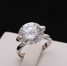 AAA Quality New Fashion Oversized Premium Cubic Zircon Propose Marriage Engagement Wedding Silver Ring for Women Luxury Jewelry