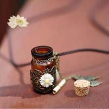 Vintage Butterfly Flower Pendant Wishing Glass Bottle & Leather Long Necklace(China)