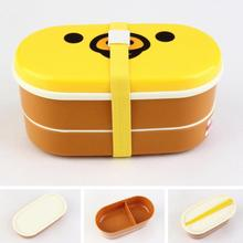 1set Cute Rilakkuma Bento Box Double Layer 16.5*8.5*8.5cm Plastic Lunch Box With Chopsticks Microwave Oven Available Newest Hot