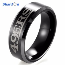 SHARDON engagement Rings 8mm Black Beveled Two-Toned Tungsten Ring laser NFL Football San Francisco 49ERS Outdoor Ring for Men(China)