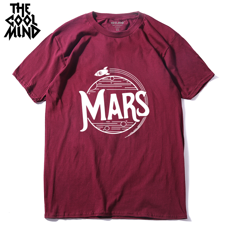 COOLMIND top quality cotton men short sleeve mars print T shirt casual summer loose mens tshirt male o-neck t-shirt tee shirts