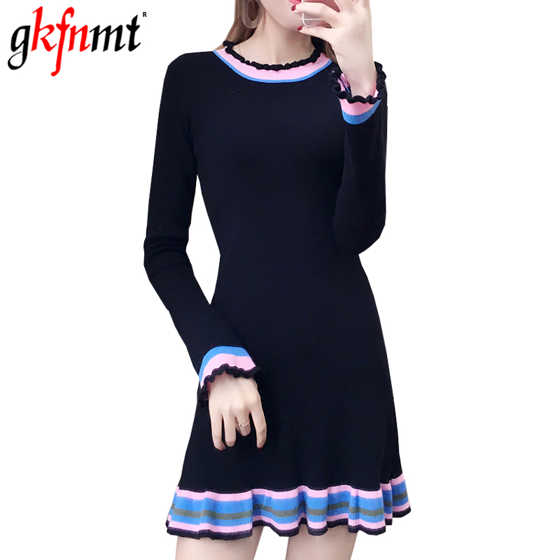 gkfnmt Women Knitted Dress Round Neck Long Sleeve Ruffles Patchwork Pullover Knitted 2018 New Spring Autumn Women Sweater DressÎäåæäà è àêñåññóàðû<br><br>