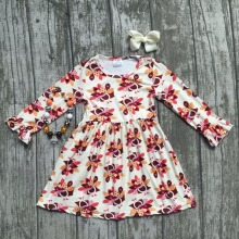 baby girls thanksgiving dress baby kids Fall milk silk dress children turkey dress baby girls boutiques dress with accessories(China)