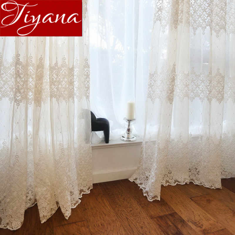 Luxury Sheer Voile Curtain for Living Roon Bedroom Solid White Floral Embroidered Window Screening Drapes Cortinas X411 #30