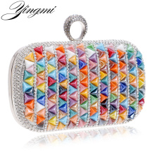 YINGMI Hot Finger Ring Daimonds Wedding Evening Bag Candy Beaded Small Day Clutch Purse Bag With Chain Shoulder Handbags