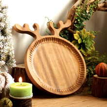Rustic Wooden Plates Creative Cute Deer Wooden Fruit Dessert Severing Tray Dishes Tableware Plate Wood Utensils Christmas Gifts(China)