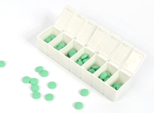 Week PP Pill Organizer Case Box 7 Day Daily Dispenser Braille VItamins Medicine