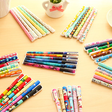 6 Pcs/set Cute Pens 0.38mm Black Ink Roller Pen Kawaii Ballpoint School Canetas Boligrafos Gift Stationery Office Supply 1601
