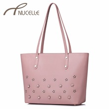 NUCELLE Women PU Leather Shoulder Bags Ladies Fashion Hollow Out Flower Tote Purse Female Rivet Leisure Handbag for Girl NZ41016