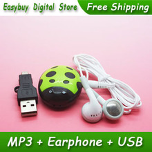Hot Sell 1 pcs/lot New Style High Quality Mini Cute Beatles Shaped MP3 Music Player Gift MP3 Players With Earphone&Mini USB
